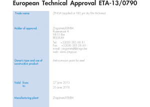 European Technical ApprovalZINGA